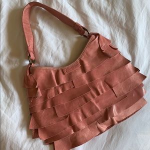 Adorable Pink Leather Ruffle Purse